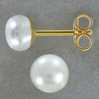 ECHT GOLD *** Perlen Ohrstecker SW Zuchtperle 6,5 mm