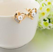 Ohrstecker Ohrring Herz gold glänzend Perle Perlen Kristall Glitzerstein weiß.