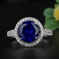 14K White Gold Finish 2.5Ct Round Cut Blue Sapphire Diamond Halo Engagement Ring