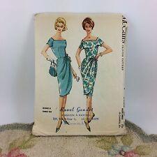"McCalls Vtg 1960s Sarong Square Neck Dress Pattern 5866 Cut 37.5"" Bust 18P Troy"