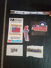 5 vintage EMBROIDERED stickers-FLAG, STATUE OF LIBERTY, MILLER LITE, LOWENBRAU++