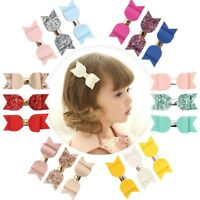 3pcs/set Cute Kids Girls Baby Glitter Sequin Bowknot Hair Clip Hair Bow Hairpin
