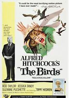 Reproduction The Birds Movie Poster, Vintage Print, Alfred Hitchcock, Thriller