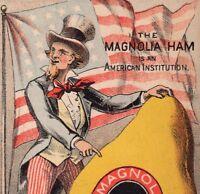 Uncle Sam 1870's American Flag Louisville Magnolia Ham Meat Patriotic Trade Card