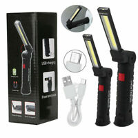 COB LED Rechargeable Work Light Magnet Flashlight With Hook Folding Torch Lamps