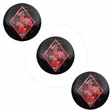 "3 Pack Gel Top Domed Glossy 3/4"" 3M Premium Decal Stickers 1%ER PERCENTER DEVIL"
