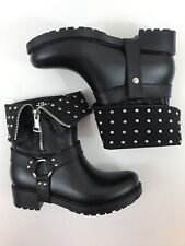 DAV Oslow Ankle Boots black Moto Bike Foldable Womens Boots Size 37 #2