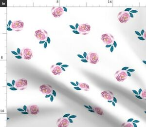 Bloom Violet Rose Floral Pink Simple Watercolor Spoonflower Fabric by the Yard