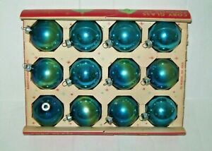 Vintage Coby Glass Blue/Teal (?) Christmas Ornaments Original Box of 12