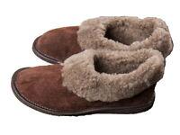 Ladies Wool Slippers Full Brown Wool Hard Sole Size 3 - 8 Women's Moccasin