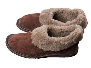 Ladies Wool Slippers Full Brown Wool Hard Sole Size 3 - 8 Women's Moccasins
