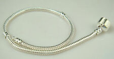 Wholesale 1pcs Snake Chain P Silver Plated Charm Bracelets Fit European Beads y5