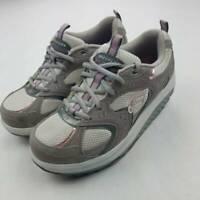Skechers Womens Shape Ups Walking Toning Shoes Gray SN 11806 Low Top Leather 7.5