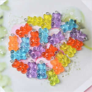 50pcs Candy Bear Cute Resin DIY Charms Patch Findings Earrings Keychain Necklace