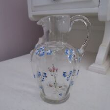 Antique clear glass jug with enameled white & for-get-me-not flowers pontil mark