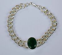 Bracelet Men's Fashion Stainless Steel Natural Emerald Gemstone -IN-32