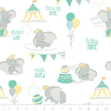 Disney Dumbo Most Loved Dream Big White 100% cotton flannel fabric by the yard