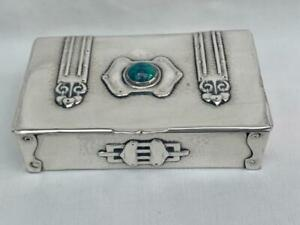 Small Hallmarked Silver Arts & Crafts Box With Polished Cabochon Central Motif.