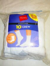 New Unopened Hanes Socks 10-Pack Crew Men's Cushioned Full Sole Size 5-9