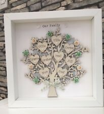 Personalised Family Tree Birthday Grandparents Mothers Day Framed Gift 💝
