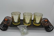 "5 PCS Decorative Vintage Look Candle Garden Tealight Set Gold w/ Rocks 13""W #71"