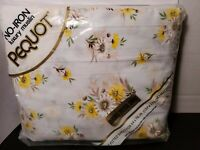 Vintage Pequot Luxury Muslin Full/Double Fitted Sheet Yellow Flower Daisy *New*