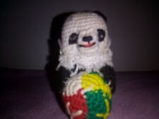 Vintage Hand Knit Panda Ornament 1 1/2 in. Height X 2 in.