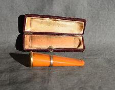 FUME CIGARETTE EN AMBRE A BAGUE EN OR AVEC SON ECRIN VERS 1920 /2