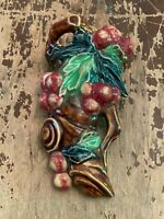 Vintage Ceramic Leaf and Berry Wall Pocket Made In Japan