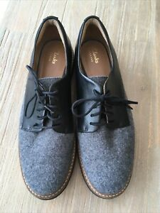 CLARKS ARTISAN BLACK GREY LEATHER LACE UP SHOES SIZE 7 D  WORN ONCE