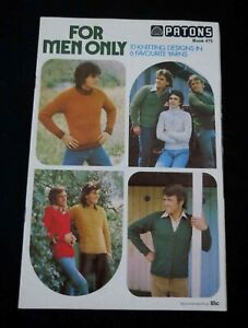 Vintage Knitting Book - Mens Patterns - Patons 475 - 1970s
