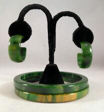 Vintage BAKELITE Green & Yellow Marbled Bangle Bracelets & Earrings Tested