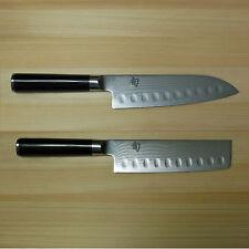 "New Shun Classic 7"" Santoku/6,5"" Nakiri Knife Set DM0718/DM0739 Japan Damascus"