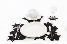 16 pièces Noël Noir Table Plat Tapis Set, Flocon de neige Napperon Napperon Noël