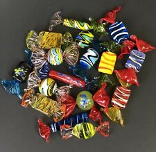 Murano Italy Art Glass Candy Hand Blown Striped Twist Lot Of 16
