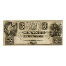 *jcr_m* USA 1830´s 3 DOLLARS OBSOLETE CURRENCY US, TECUMSEH BANK MICHIGAN *UNC*