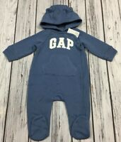 Baby Gap Boys 0-3 Month Blue & White Logo Jumpsuit Romper. Nwt