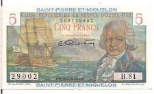 SAINT PIERRE & MIQUELON,5 FRANCS ,ND(1950-1960),aUNC
