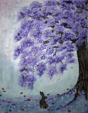 Hares & Poppies Original Painting. Acrylic, Glitter & amethyst crystal on canvas