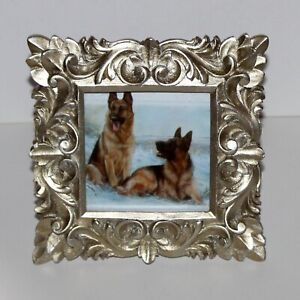 """Cynthia Rowley square Frame for 4"""" x 4"""" photo gold carved wood glam classic"""