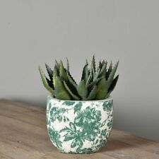 Small Green & White Dutch Oval Vase Planter. Thick Crackle Botanical Shabby Chic