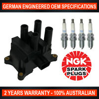 Set 4x NGK Iridium Spark Plugs & Ignition Coil Pack for Ford Escape XLS XLT 2.3L