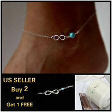 Silver Anklet Ankle Bracelet Foot Chain Infinity Love Symbol Blue Beads Boho