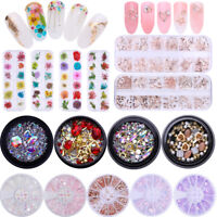 3D Nail Rhinestones Rose Gold Beads Rivets Dry Flowers Nail Decoration In Wheel