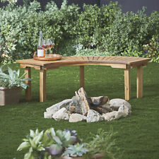 Curved Acacia Wood Backless Outdoor Firepit Garden Home Bench Seat- Natural