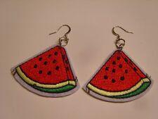 Ohrringe mit Wassermelonenstück aus Stoff Bügelbild Flicken Handgemacht