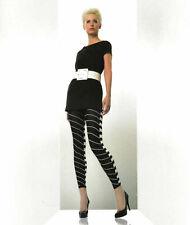 PRETTY POLLY LEGGINGS OPTICAL FOOTLESS TIGHT LEG LOOKS BLACK / WHITE ONE SIZE