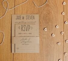 Vintage shabby chic rustic Craft Brown Style Wedding Invitation SAMPLE