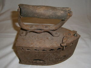 Antique Heavy Ironing Box Coal Charcoal Home Iron Wooden Handle Russia USSR Vtg