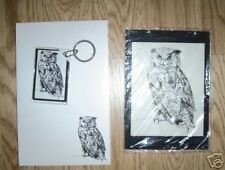 Owl Bird 3 Piece Set-Notepad, Small Print and Keychain New